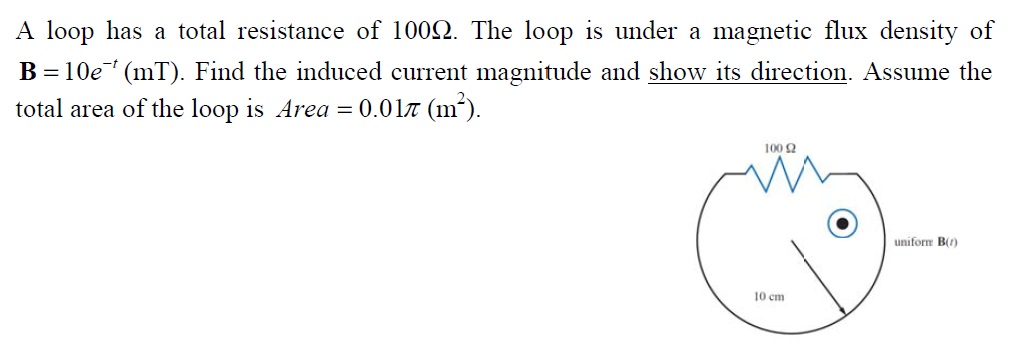 A loop has a total resistance of 100 Ohm. The loop
