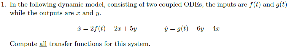 In the following dynamic model, consisting of two
