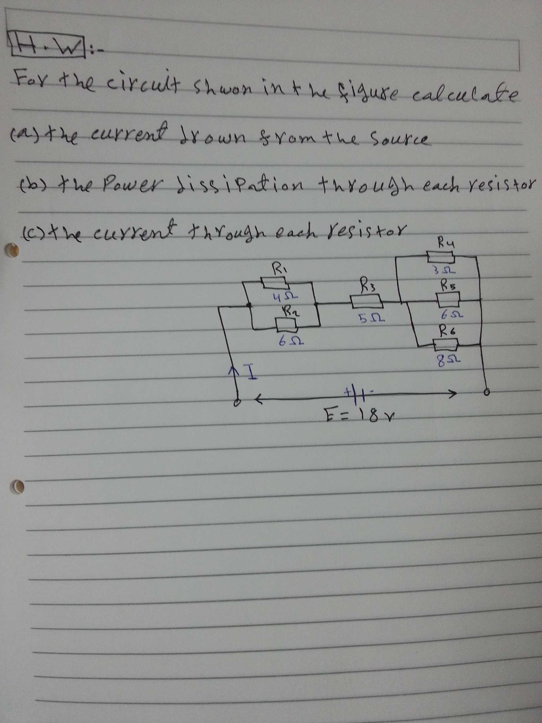 For the circuit shown in the figure calculate the