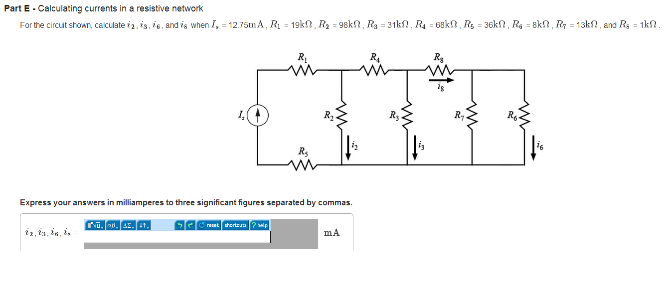 Calculating currents in a resistive network For th