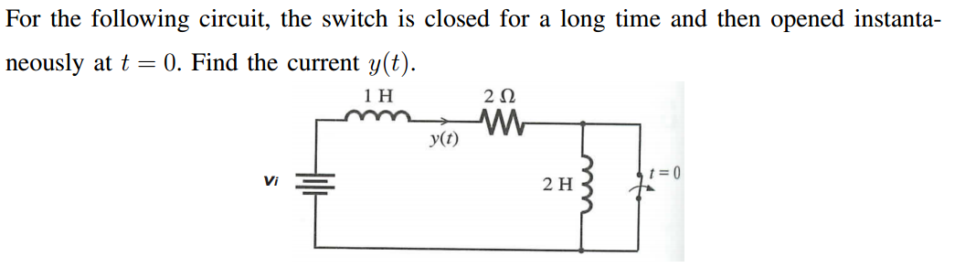 For the following circuit, the switch is closed fo