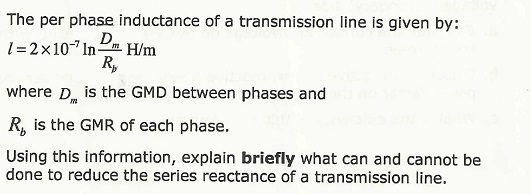 The per phase inductance of a transmission line is