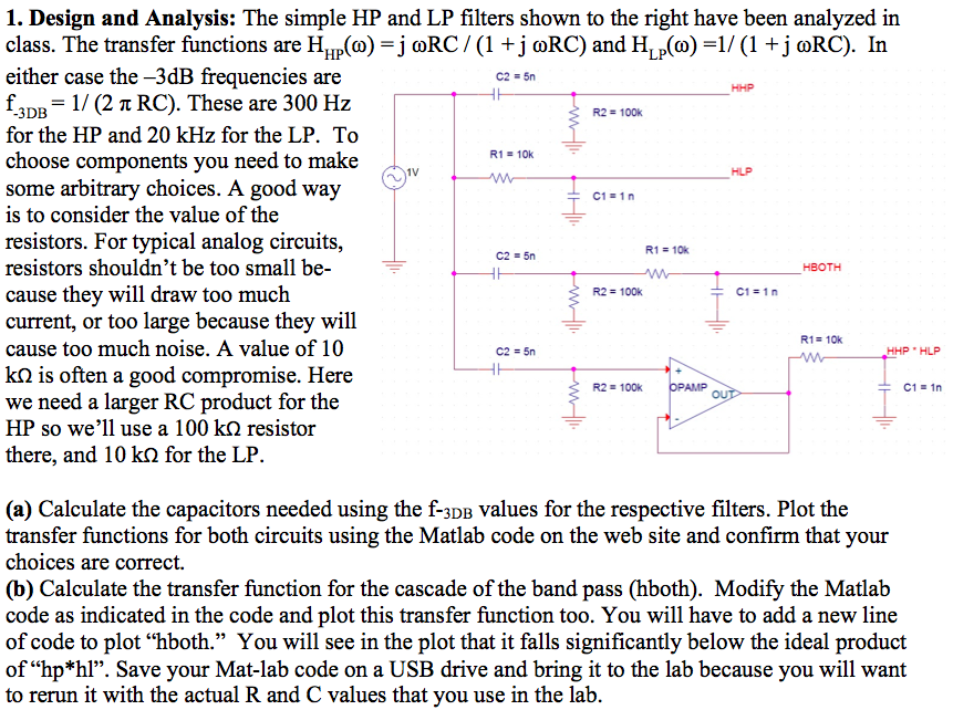 Design and Analysis: The simple HP and LP filters