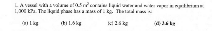 A vessel with a volume of 0.5 m3 contains liquid w