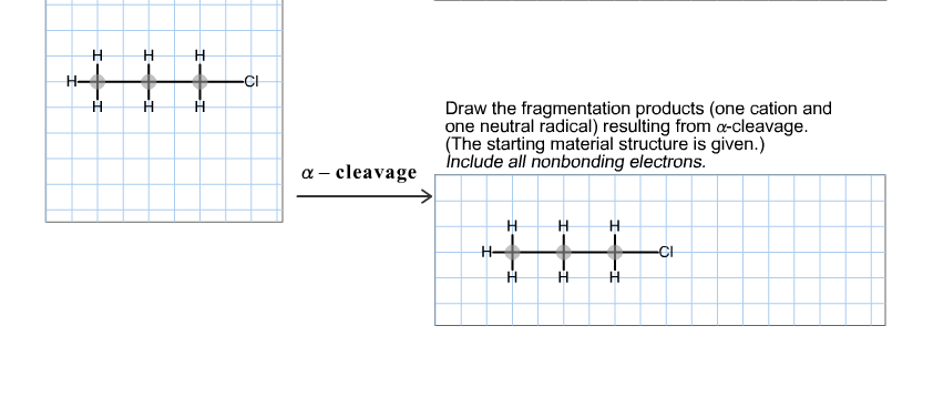 Draw the fragmentation products (one cation and on