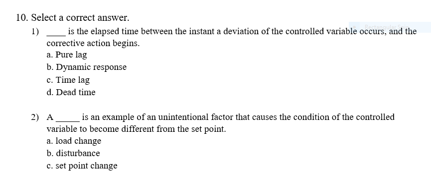 Solved: Select A Correct Answer. ___ Is The Elapsed Time B ...