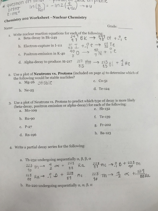 Write Nuclear Reaction Equations For Each Of The F – Nuclear Decay Worksheet Answers