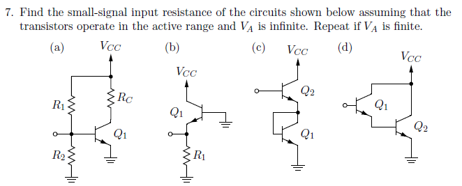Find the small-signal input resitance of the circu