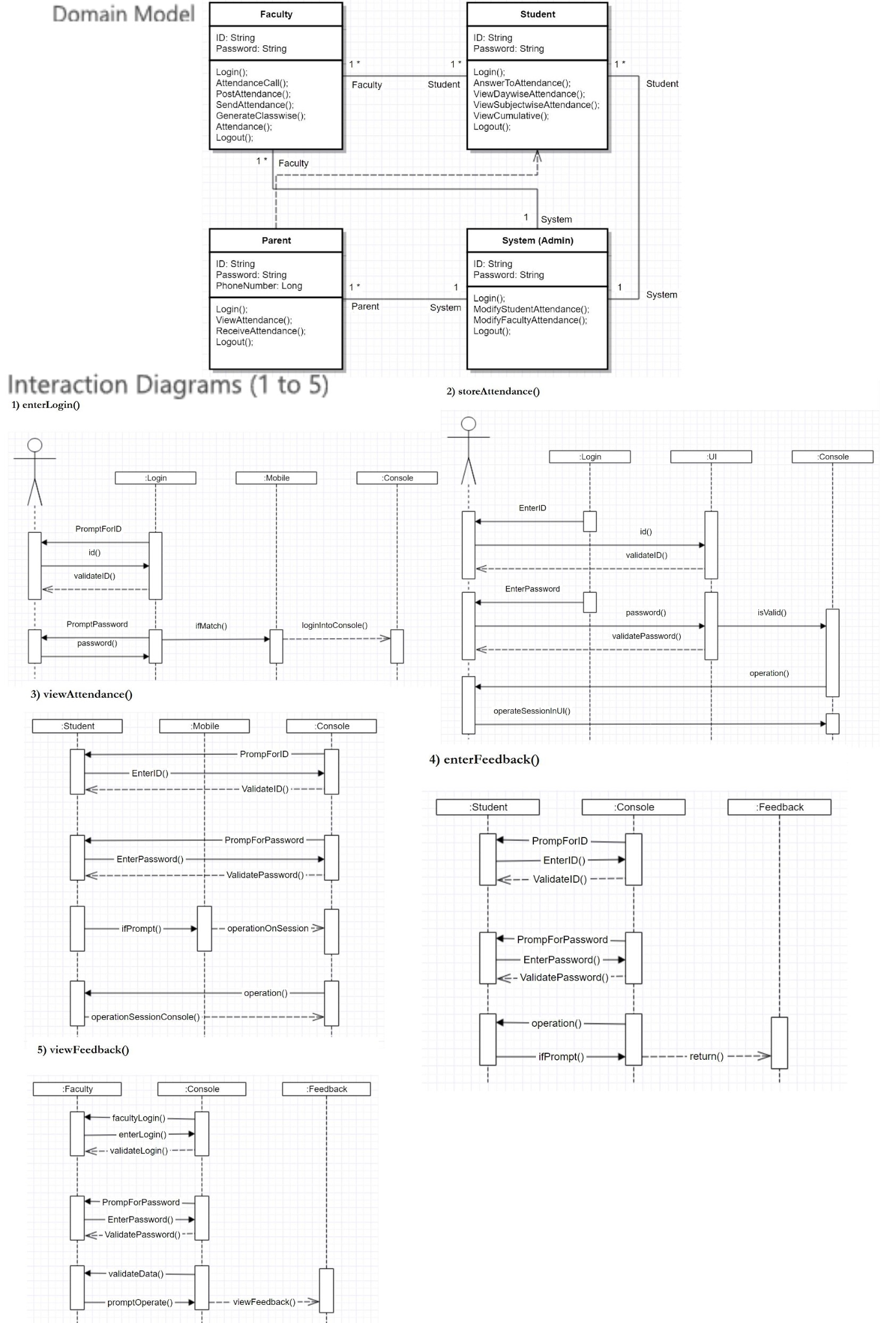 Solved mobile attendance app q 1 create the class diagra domain model interaction diagrams ccuart Images