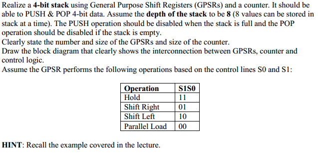 Realize a 4 - bit stack using General Purpose Shif