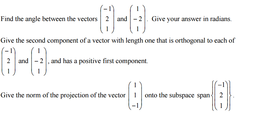 Norm of a vector c