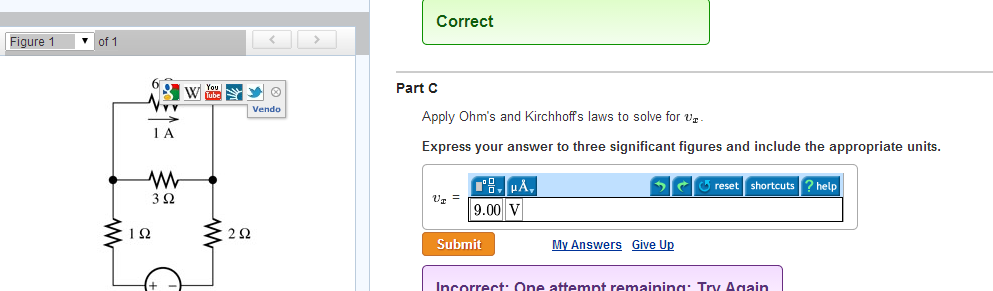 Apply Ohm's and Kirchhoffs laws to solve for vx.