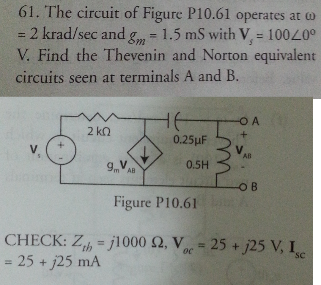 The circuit of Figure P10.61 operates at omega = 2