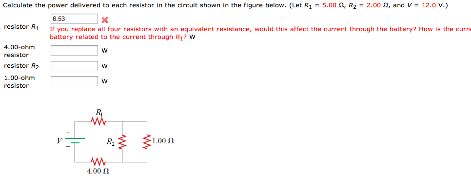Calculate the power delivered to each resistor in