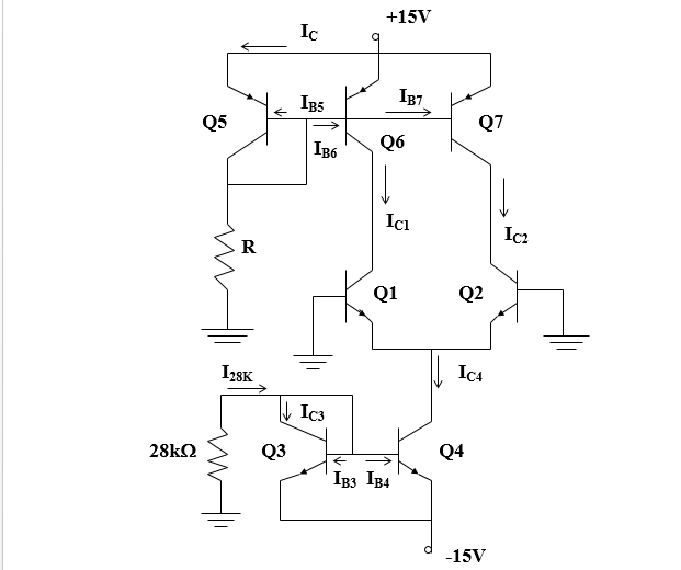 The circuit shown is an emitter-coupled pair in w