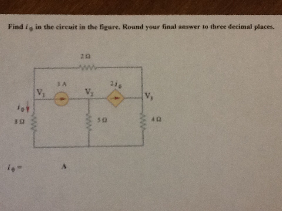 Find i0 in the circuit in the figure, Round your f