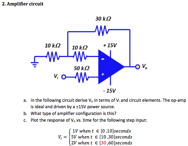 In the following circuit derive V0 in terms of Vi
