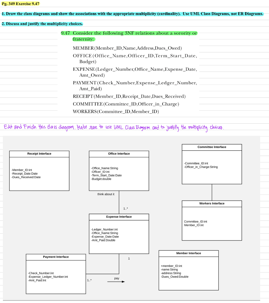 Use uml class diagram to edit and finish this clas chegg draw the class diagrams and show the associations with the ccuart Choice Image