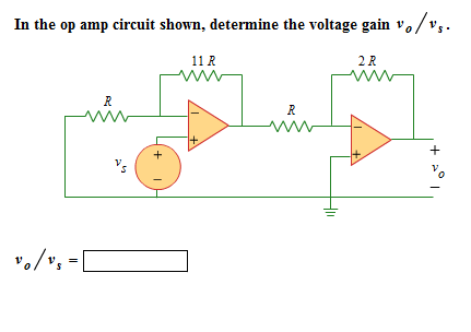In the op amp circuit shown, determine (be voltage