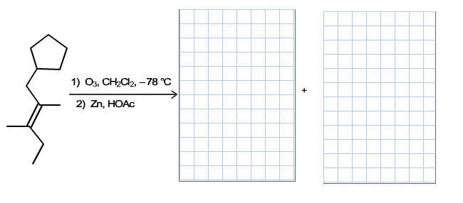 Draw the correct products, in either order, for th
