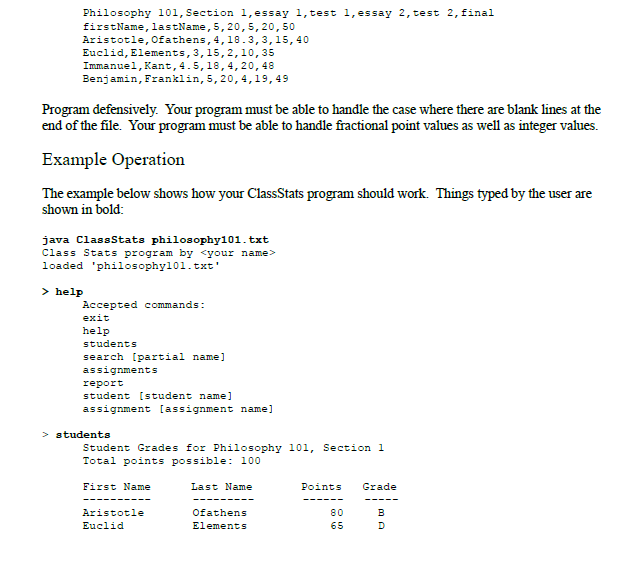 computer science java programming dr david clin com show transcribed image text computer science 1 java programming dr david cline program grade stats in this program you will create a utility to calculate