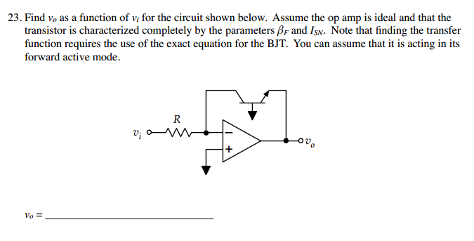 Find v0 as a function of v, for the circuit shown