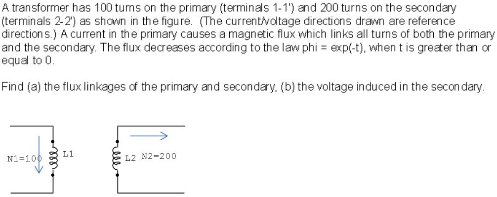 A transformer has 100 turns on the primary (termin