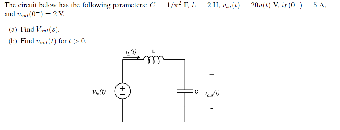 The circuit below has the following parameters: C