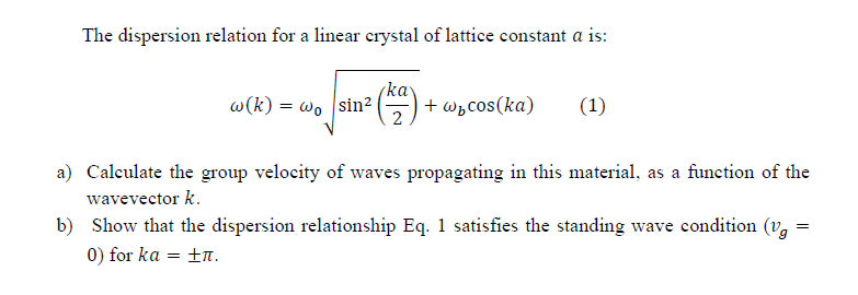 The dispersion relation for a linear crystal of la