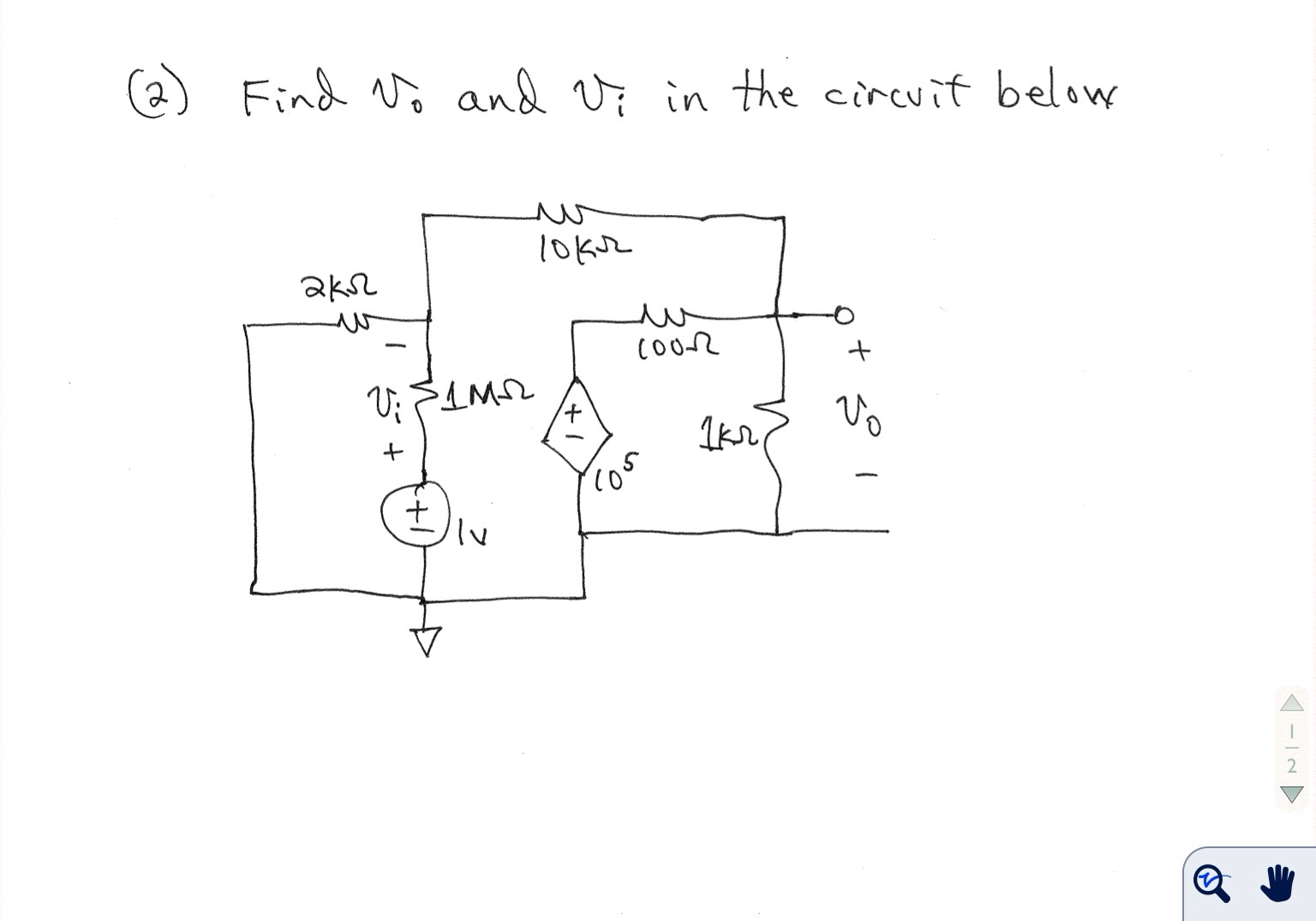 Find v0 and vi in the circuit below