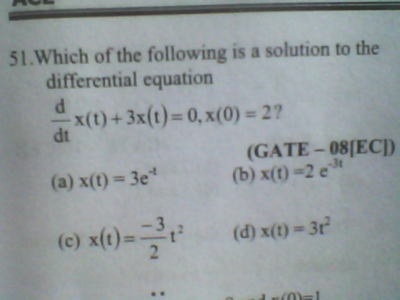 Which of the following is a solution to the differ