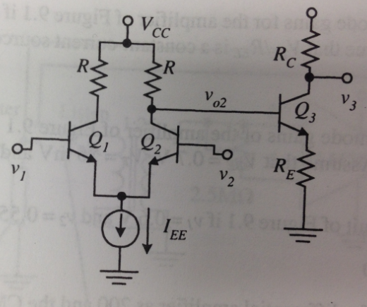 Find Ac, Ad and the CMRR for the circuit of figure