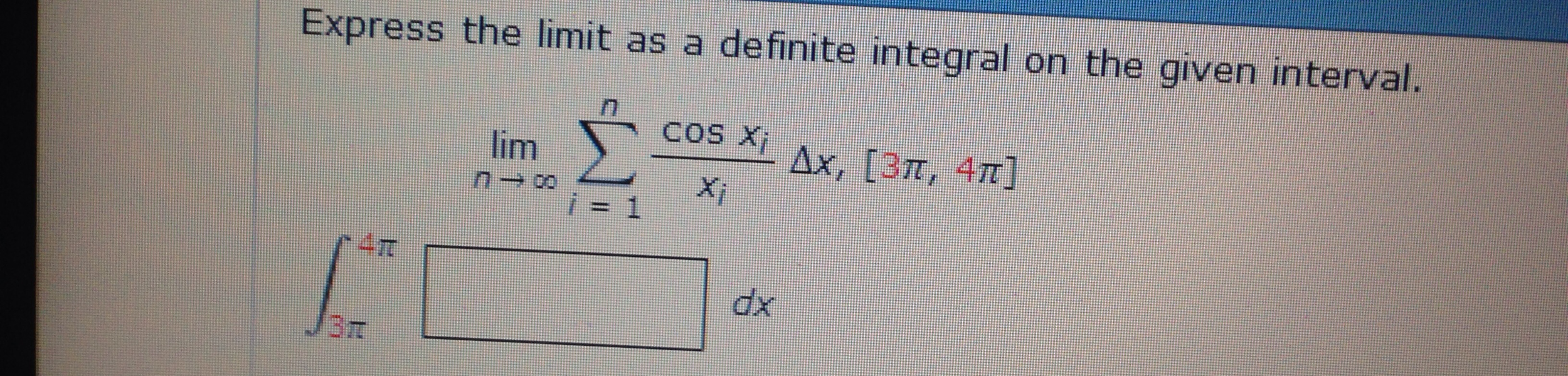 Express the limit as a definite integral on the gi