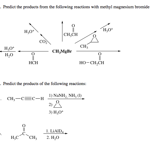 Predict the products from the following reactions