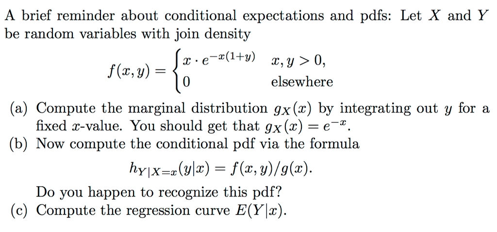 pdf of x conditional on y y is a constant