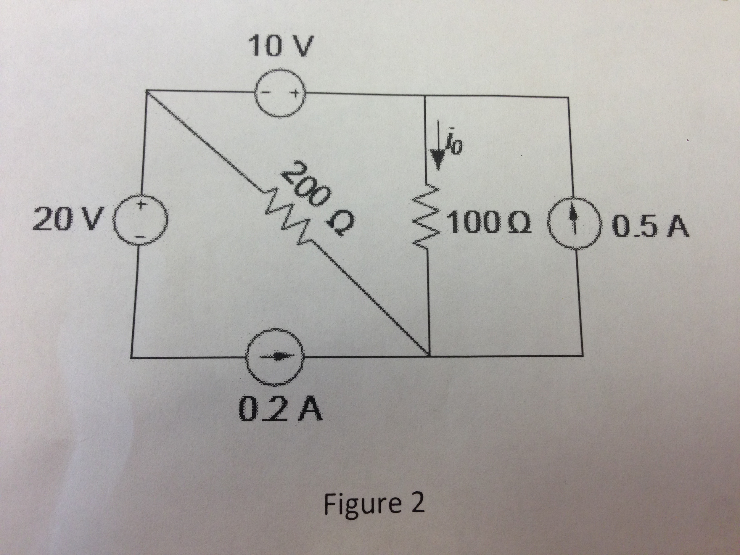 Determine the current i0 through the 100-ohm resis