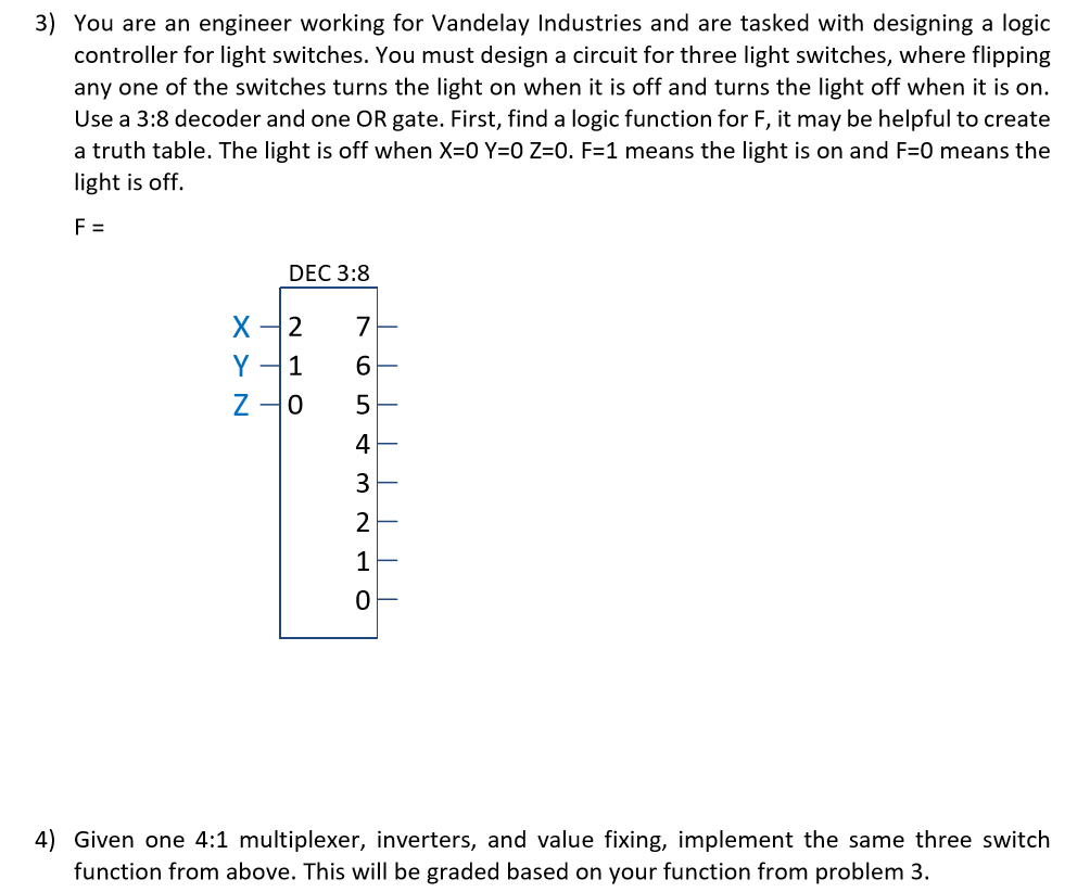 Solved 3 You Are An Engineer Working For Vandelay Indust - 3 Light Switch Logic Problem