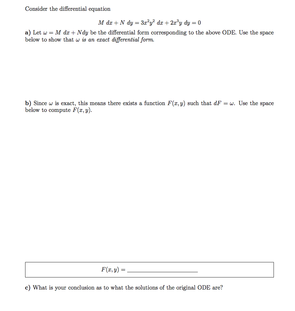 Consider The Differential Equation M Dx + N Dy = 3... | Chegg.com