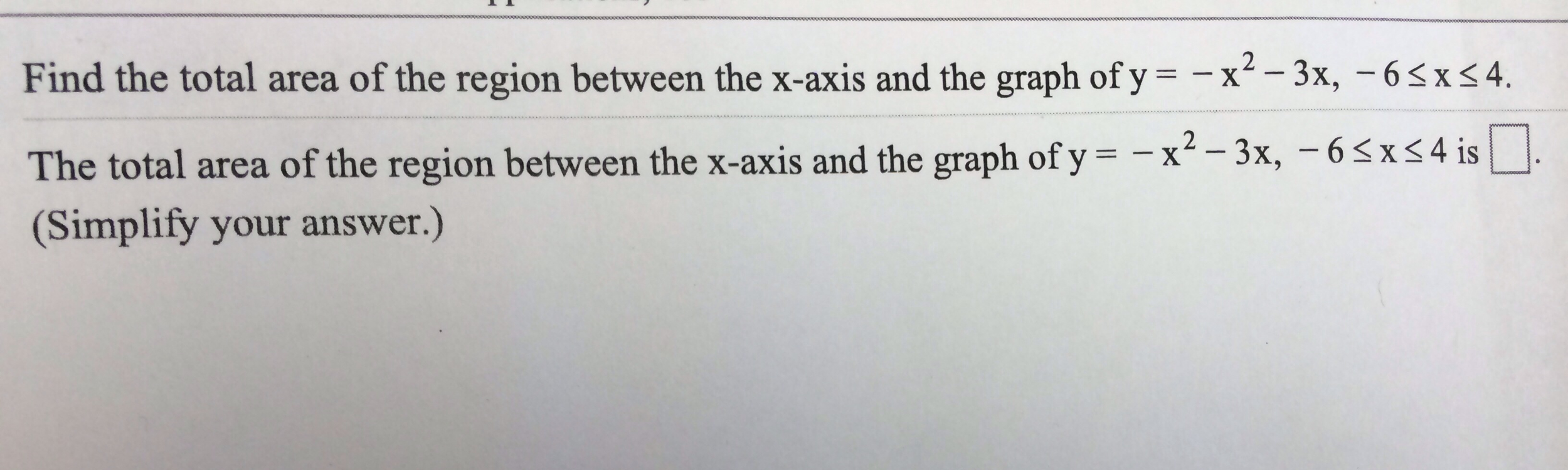how to find area of region in terms of y