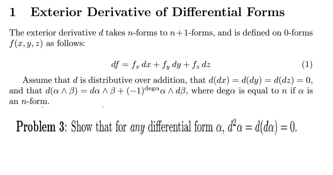 Exterior Derivative Of Differential Forms The Exte... | Chegg.com