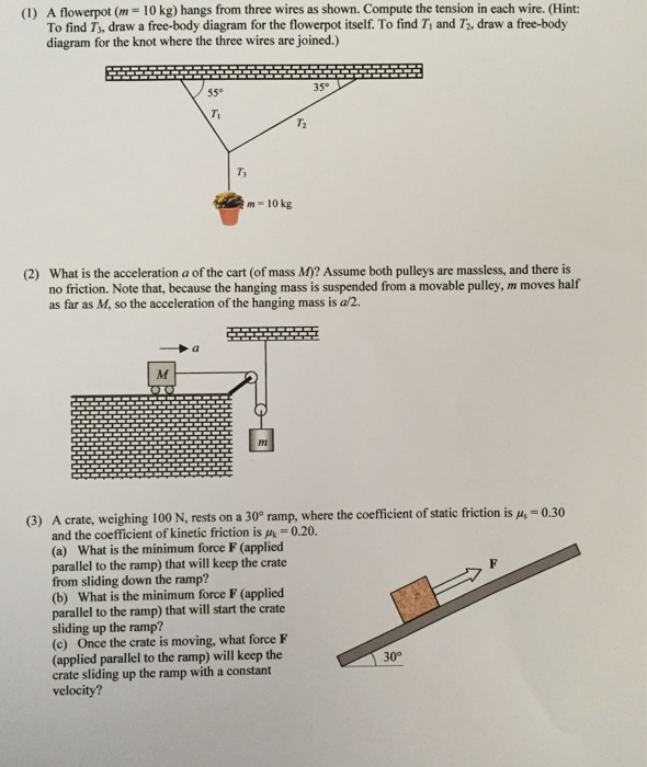 media%2F496%2F496c582a 6ea7 4b94 b266 abd35fc8645e%2Fimage 1) a flowerpot (m = 10 kg) hangs from three wires chegg com free body diagram for air resistance at reclaimingppi.co