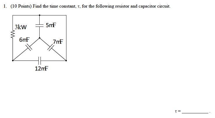 Find the time constant, tau, for the following res