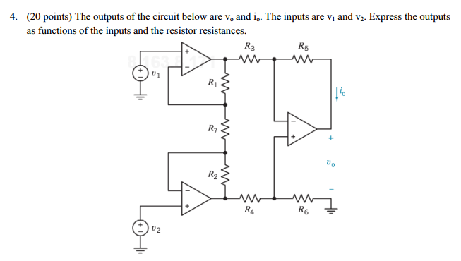 The outputs of the circuit below are vc and i0. Th