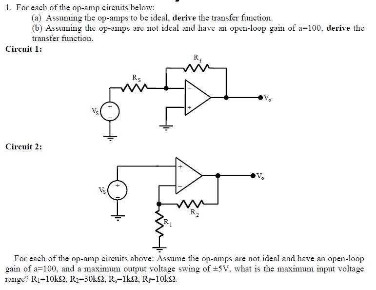 For each of the op-amp circuits below: Assuming t