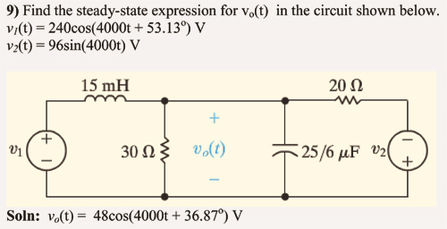 Find the steady-state expression for v0(t) in the