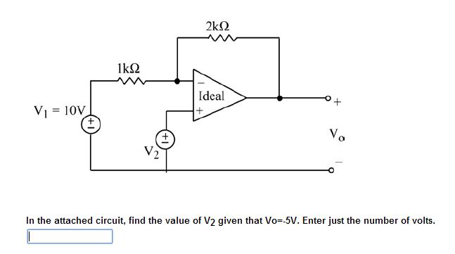 In the attached circuit, find the value of V2 give