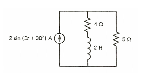 For the circuit shown below, determine the average