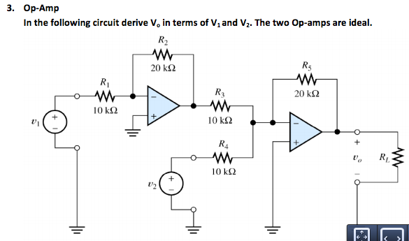 In the following circuit derive V0 in terms of V1