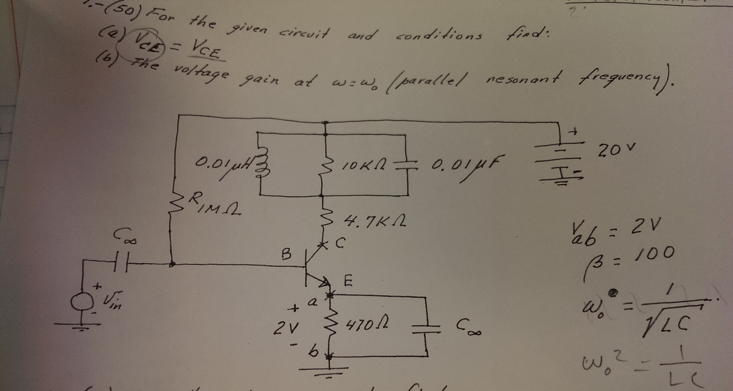 For the given circuit and condition and conditions