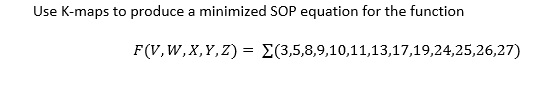 Use K-maps to produce a minimized SOP equation for